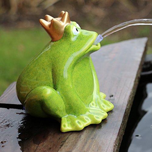 Gartenzaubereien Wasserspeier Frosch grün mit Pumpe