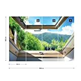 Wasserfall Wald 3D-Dachfenster-Ansicht Fototapete Fotomural - Wandbild - Tapete - 368cm x 254cm / 4 Teilig - Gedrückt auf 115gsm Muralpapier - 10413P8 - Seen und Wasserfälle Test