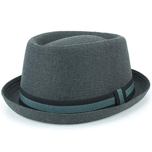 Hawkins Porkpie filzhut dunkelgrau tweed satin band krempe - Synthetisch, grau, 100% polyester \n100% polyester\n50p, Herren, Small / Medium (57cm) - Tweed-band