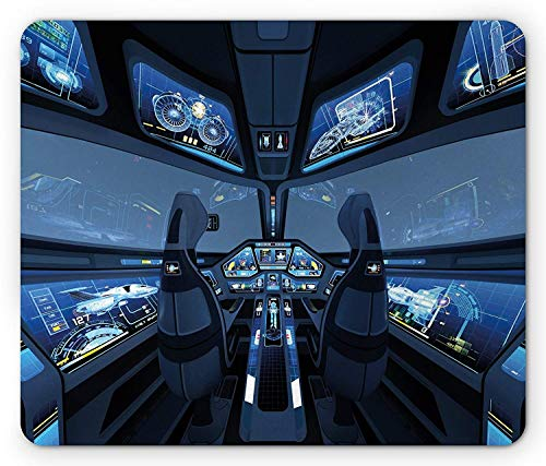 Outer Space Mouse Pad, Space Station Shuttle Cockpit Cabin with Mode Control Panel Flight Deck Area Gaming Mousepad Office Mouse Mat Blue Gray -