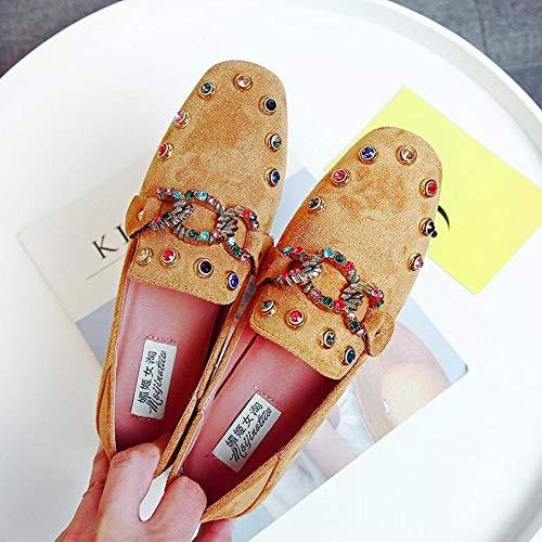 YOPAIYA Fischer Schuhe Frauen Gelb Flache Schuhe Niet Strass Slip On Wohnungen Damen Müßiggänger Ballett Mokassin Wildleder Lässige Mode Weibliche Große Schuhe, 37 Army Navy Schuhe