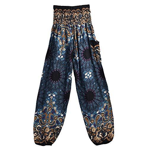 EUZeo Unisex Boho Mandala Drucken Yoga Hosen Länge Capri Damen Herren Hohe Taille Indisch Sporthose Bunte Yogahosen Bloom Hosen (Leggings Indischen)