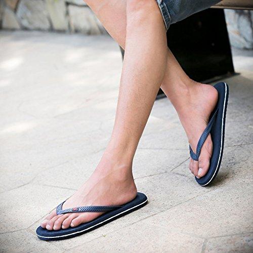 Tongs, les hommes, la preuve, lété, chaussons pour hommes pieds pincée, étudiants cool mop, la mode des chaussures de plage Navy Blue