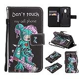 Nancen Compatible with Handyhülle Motorola Moto G4 Play (5 Zoll) Hülle/Handyhülle, Painted Persönlichkeit PU Leder Tasche Schutzhülle Case [Don't Touch My Cell Phone]