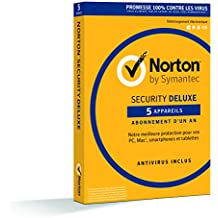 Symantec - Norton Security Deluxe 2018 | 1 An | 5 Appareils | PC/Mac/Android/iOS | Téléchargement
