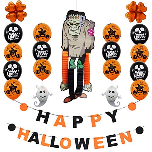 BESTOYARD Happy Halloween Brief Banner Halloween Party Dekorationen Set Latex Ballons Banner DIY Cartoon Papier Hängende Ornamente Foto Requisiten (Freak)