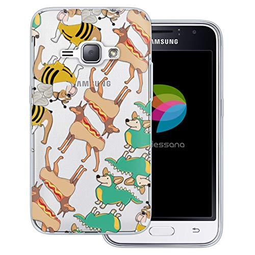 dessana Süße Tiere transparente Schutzhülle Handy Case Cover Tasche für Samsung Galaxy J1 (2016) Hunde im Kostüm