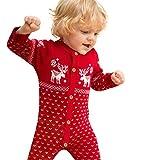 Baby Weihnachtsstrampler,Moonuy Unisex Neugeborenes Gestrickte Baumwolle Insgesamt Langarm Weihnachten Pullover Mantel Hirsch Druck Mit Taste für kleine baby (Rot, 70)