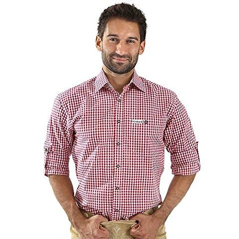 ALMBOCK Trachtenhemd Herren kariert | Slim-fit Männer Hemd wein-rot kariert | Karo Hemd aus 100% Baumwolle in den Größen S-XXXL