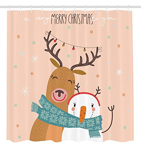 Christmas Decorations Collection, Best Friend New Year Theme with Hipster Christmas Characters Deer and Snowman Graphic, Polyester Fabric Bathroom Shower Curtain, 84 Inches Extra Long, Multi (Years Theme New)