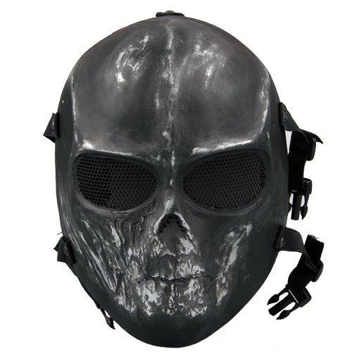 Softair Maske Totenkopf Schädel Vollschutzmaske Schwarz/Silber