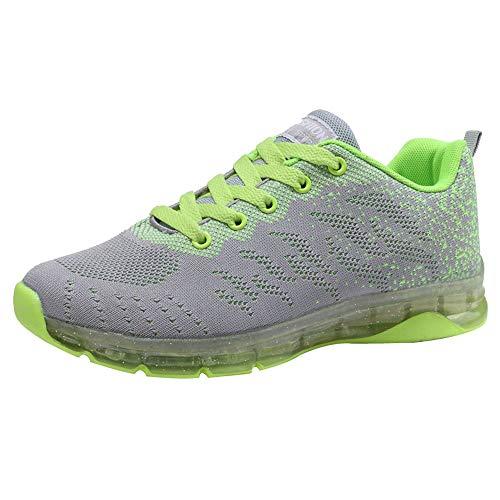 Logobeing Zapatillas de Deporte con Cojines de Aire Calzado de Running Net para Estudiante Volar Zapatos Tejidos Zapatillas Deportivas de Mujer Gimnasia Sneakers 35-41 (38, Verde)