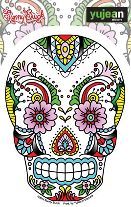 sunny-buick-old-skool-flowers-lace-sugar-skull-sticker-decal-375-x-5-die-cut-weather-resistant-long-