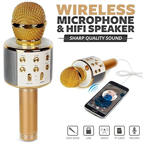 Meya Happy™ W858 Bluetooth Wireless Karaoke Mic with Speaker for Home, Party, Singing, Recording | Microphone Condensor For Mobile, Laptop Etc. (W858 GOLD)