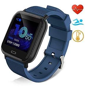 Huyeta Reloj Inteligente Impermeable IP67 Smartwatch Pantalla Táctil Completa Pulsera de Actividad Mujer Hombre Niño Reloj Deportivo a Prueba de Podómetro Monitor de Sueño para iOS Android (Rosado) 1