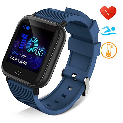 Huyeta Smart Watch mit Pulsmesser Sport Uhr Smart Uhr Wasserdicht Fitness Tracker Aktivitätstracker Pulsuhren mit Kalorienzähler Schlafmonitor,Kamera,SMS für Damen Herren für IOS Android (Blau)