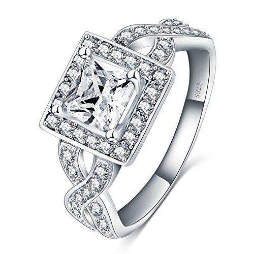 Blisfille Ring Edelstahl Damen Silberringe Schlicht Silber Quadrat Zirkonia White Kristall Ring Gr. 60 (19.1)