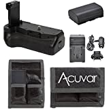 Pro Series Battery Grip For Canon T7i/77D DSLR Cameras + LP-E17/LP-17N Rechargeable Battery + Fast Car/Home Charger + Acuvar Battery Pouch