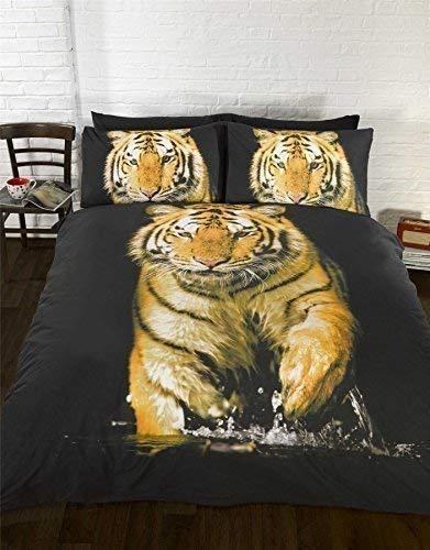 Tiger Orange Gelb Schwarz Weiß Bettbezug Größe King Size 230cm x 220cm - Bettbezug King-set Gelb