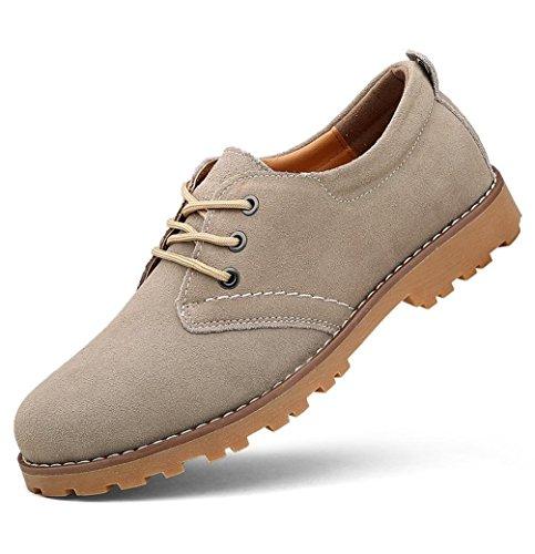 Heart&M orteil rond casual en cuir véritable daim cuir chaussures light gray