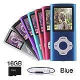 Ueleknight MP3 / MP4 Player con una Scheda Micro SD da 16G, Lettore Musicale Digitale Portatile Utilizzato Anche Come Registratore Vocale/FM/Video/Lettore di E-Book, Schermo LCD da 1,8 Pollici-blu