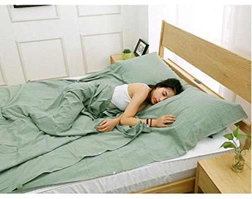 Voyage à travers le sac de couchage en coton sale sac de couchage Ultra léger voyage Voyage couverture lit couette Hôtel anti-sale sac de couchage 160 cm * 210 cm , green
