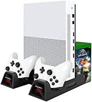 Womdee Vertical Stand, Controller Charger, Cooling Fan for Xbox One, One S, One X and Elite -Dual Charging Doc