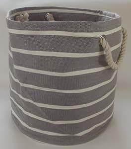 Grand et circulaire sac pliable souple pour le stockage linge, laverie, lavage et du jouet. Gris clair et le design à la crème