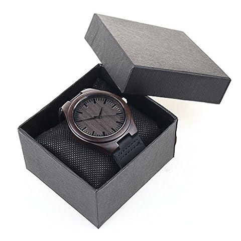 You's en bois de bambou montres Unisexe Montre de poignet avec sangle en cuir vachette naturel en bois de bambou, gris