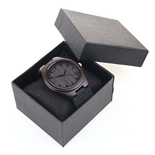 YOU'S in legno di bambù orologi, unisex orologio da polso con cinturino in pelle vacchetta naturale in legno di bambù (grigio+Non esistono dati)