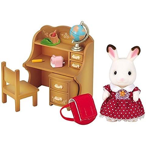 Sylvanian Families Schokoladenhasen Schwester mit Schreibtisch und Zubehör: Puppen Haus Stube Zubehör