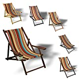 Printalio Streifen - Liegestuhl Bedruckt Balkon Garten Sonnenliege Relax Holz Terrasse | mit Armlehne, Natur