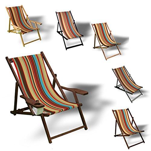Printalio Streifen - Liegestuhl Bedruckt Balkon Garten Sonnenliege Relax Holz Terrasse   mit...