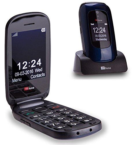 TTfone Lunar TT750 Big Button Simple Easy Clamshell Unlocked Flip Mobile Phone - Blue - Best Price