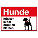 Wandkings Hinweisaufkleber für den Innen- und Außenbereich - Hunde müssen leider draußen bleiben. - 20x15 cm - Aufkleber ohne Schild