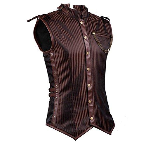 Braune Steampunk Weste Deluxe Herren viktorianisch Kunstleder gestreift Kostüm, Größe:XL