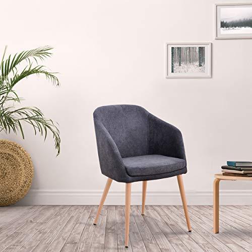 Mc Haus - Sillon Lara gris antracita diseño nordico salon comedor 51,5x53,5x85cm