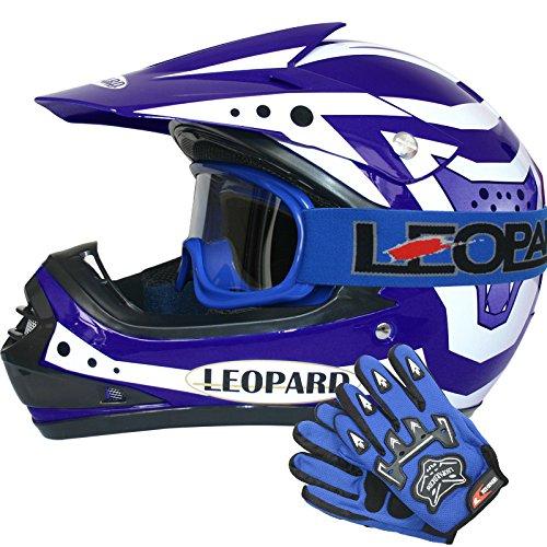 X18- Cranio 49-50cm S Occhiali da Moto Guanti per Bambini Cross e off-Road Motocicletta ATV Quadrilatero ECE 22-05 Approvato Leopard LEO-X18 Casco da Motocross
