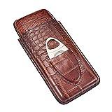 AUTOECHO Custodia per Sigaro Custodia per Sigaro Portatile in Pelle di Coccodrillo Marrone con taglierina in Acciaio Inox, 19 × 9 cm