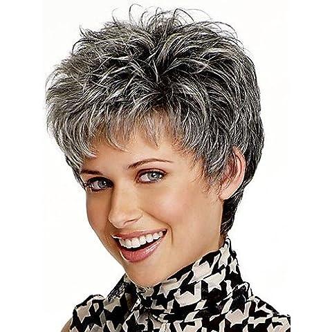 Pelucas de la manera conveniente y cómodo mirada natural,mezcla de color gris corto pelucas sintéticas del pelo