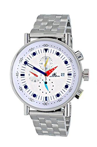 Adee Kaye Men's Quartz Stainless Steel Sport Watch, Color:Silver-Toned (Model: AK2268-30_SV)