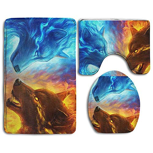 Zengyan Bright Rainbow Mermaid Scales Bathroom Rug Mats Set 3 Piece Toilet Carpet Rugs Includes Contour Mat and Lid Cover, Non Slip Mats for Tub Shower - Salbei Shag Teppich