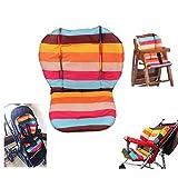 Amcho - Cojín protector almohadillado con película transpirable e impermeable para cochecito/trona/carro de bebé, diseño rayas de arco iris