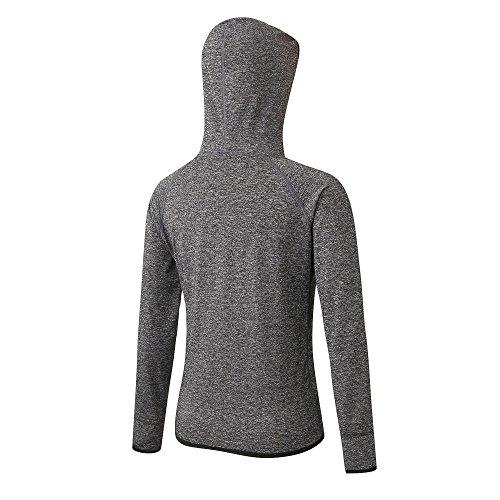 ESHOO Femme Hiver Zipper Manteau Veste à Capuche Sport Sweat-shirt Casual Sweatshirt Hauts Tops Compression Blouse Gris