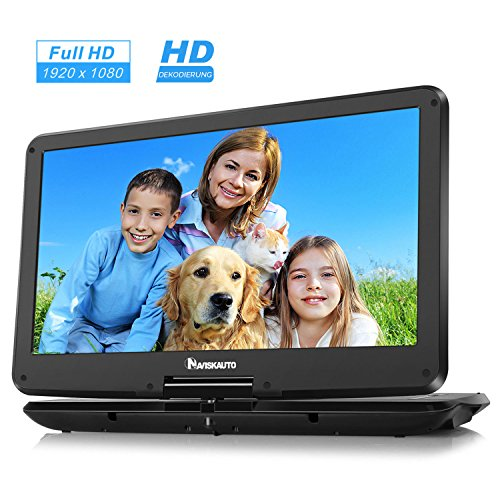 NAVISKAUTO 15,6 Zoll Full HD IPS 178° Tragbarer DVD Player Portable Dvd Player Kinder DVD Player Monitor Bildschirm 1920x1080 HD Video 15001