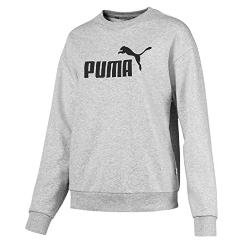 Puma Damen ESS Logo Crew Sweat TR Pullover, Light Gray Heather, XL
