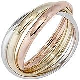 Ring Damen 14 Karat (585) Rotgold Gelbgold mit Weißgold und Rotgold kombiniert 58 (18.5)