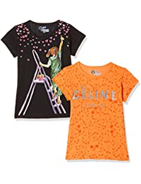 Qube by Fort Collins Girls' Animal Print Regular Fit T-Shirt (Pack of 2)