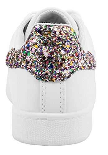 Elara Trendige Unisex Sneaker  Damen Kult Sport Laufschuhe   Turnschuhe Weiß/Flower Style