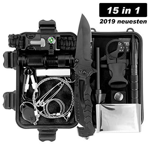 LC-dolida Survival Kit 15 in 1, Außen Notfall Survival Kit,Camping, Bushcraft, Wandern, Jagd und Ihr Outdoor Abenteuer (Schlüsselanhänger Fire Starter)